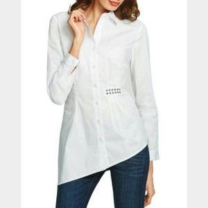 CAbi #975 Asymmetrical White Button Down